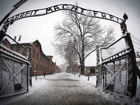 (FILES) This file photo taken on January 25, 2015 in Oswiecim shows the entrance to the former Nazi ...