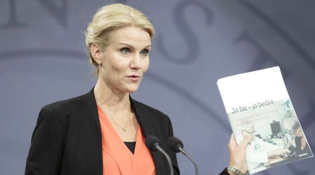 """21 Aug 2014, Copenhagen, Zealand, Denmark - - - Copenhagen, Denmark. 21st August 2014 - - Helle Thorning-Schmidt with the new plan titled """"The sooner the better"""" (Jo før - jo bedre). - - The Danish Prime Minister, the Minister for Economic and Interior Affairs and the Minister for Health presents a new plan for the Health system and for better care for chronically ill patients. The plan will be part of the budget negotiations. - - - Image by © Jacob Crawfurd/Demotix/Corbis"""
