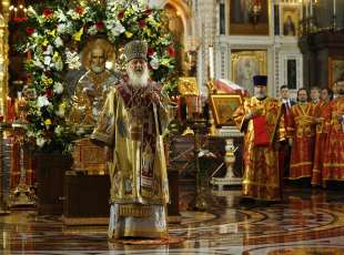 Russian Orthodox Patriarch Kirill celebrates a service on the return of the relics of Saint Nicholas in the ...