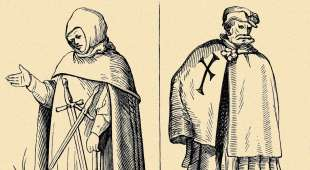 Medieval Teutonic knights. Woodcuts in the 'Cosmographic Universelle' of Munster