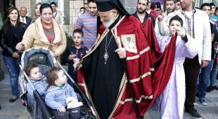 epa04691342  III LahGregoriosam  the (C),Patriarch of Antioch and A at the al-Zaitoun Church, in Damascus, ...