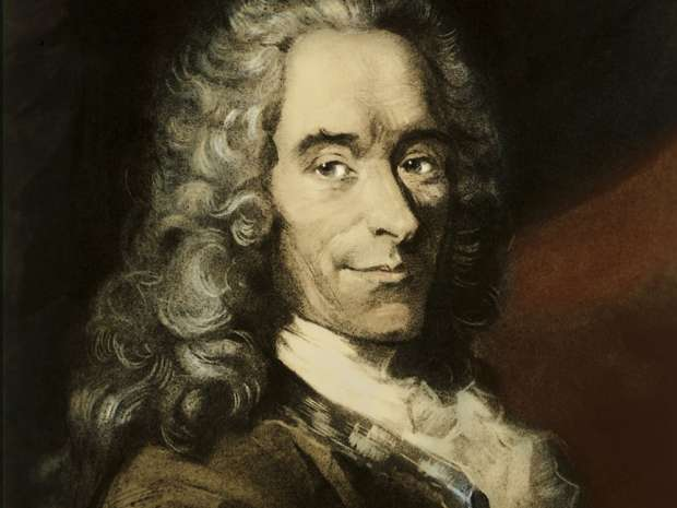 Voltaire (Francois-Marie Arouet) - portrait of French writer and author of Candide, Zadig, Micromegas, ...