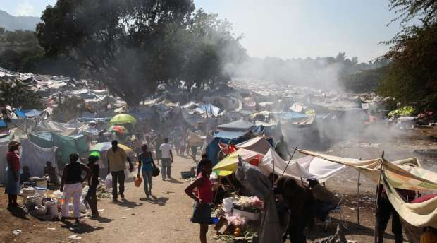 Tent city sets up at the Delmas 40B refugees camp, is home to more than 25 000 people who lost their houses, ...