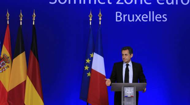 France''s President Nicolas Sarkozy holds a news conference at the end of a euro zone summit in ...