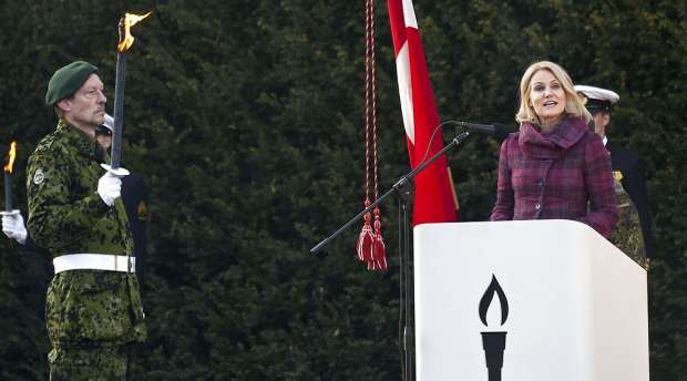 Danish PM, Helle Thoring-Schmidt, speaks at the commemoration ceremony on the occasion of the Liberation of ...